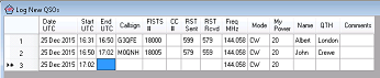 Small image of FISTS Log Converter's Log New QSOs window.