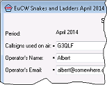 Snapshot showing part of the EuCW Snakes & Ladders entry form.
