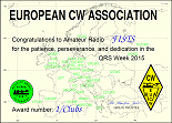 Small image of FISTS CW Club's 2015 EuCW QRS Week certificate.