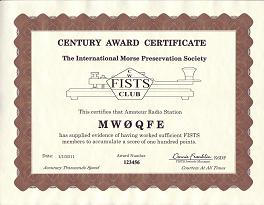 Image of Basic Century Award certificate.  Click to view the Award's details