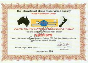 Image of FISTS Down Under Prestige Award certificate