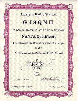 Image of Nightmare Alpha-Numeric Award certificate.  Click to view the Award's details