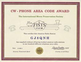 Image of CW Phone Area Code Award certificate
