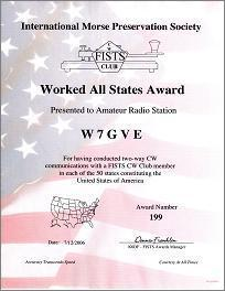 Image of a Worked All States Award certificate.